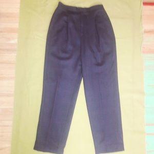 Blue Green Red Plaid Pants Hi Waist Wool Straight